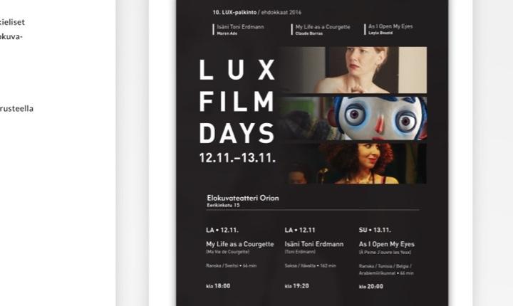 Lux Film Days 2016 tapahtumajuliste